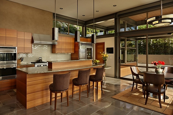 Stylish kitchen draped in wood