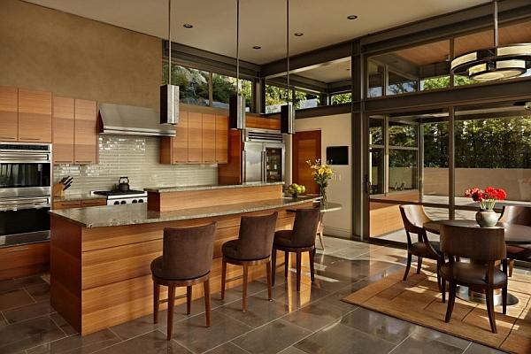 Stylish kitchen draped in wood