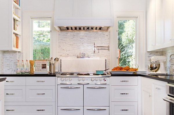 Classy kitchen features cool vintage Wedgewood stove from the 50's and shaker cabinets