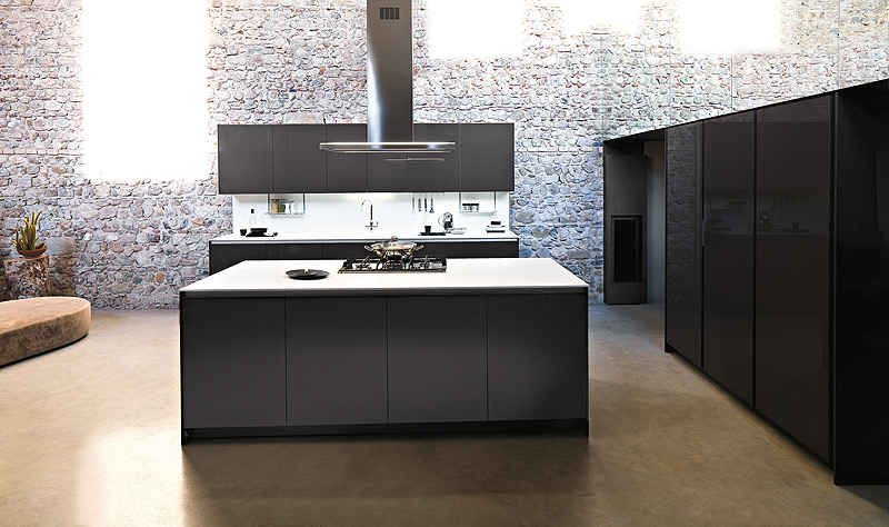 Stylish kitchen in grey with glossy finish