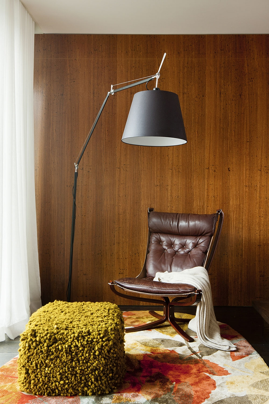 Stylish reading nook with leather seating