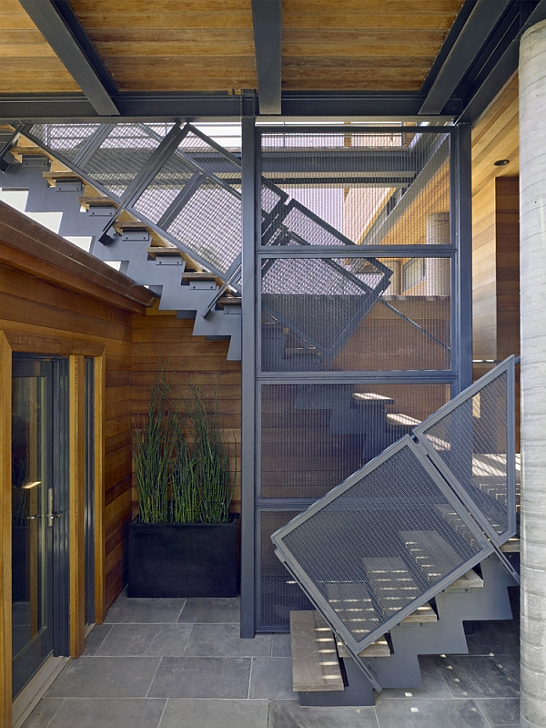 Stylish steel mesh railing for staircase