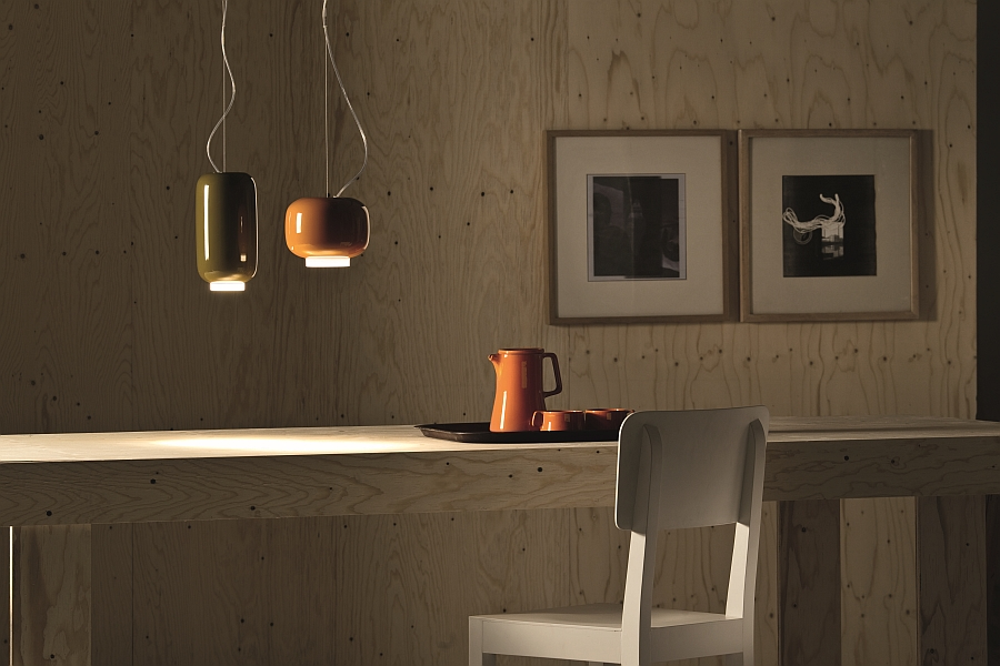 Suspension lamp Chouchin Mini from Foscarini showcased inside a home