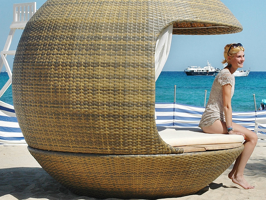 Switch between sun and shade with the lavish lounger Create Your Own Exclusive Cabana With The Comfy Cocoon Beach Daybed