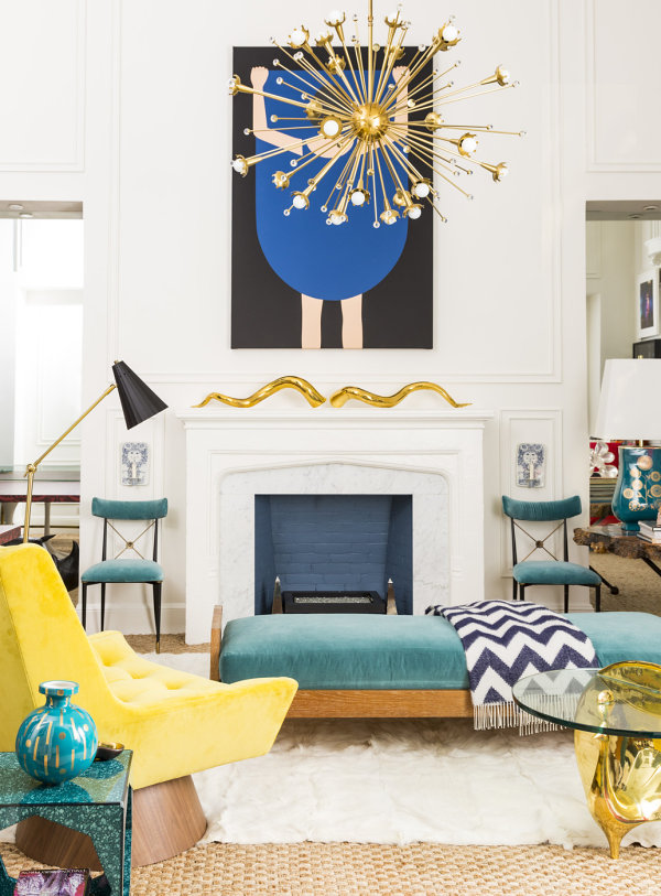 Teal and yellow living room accents