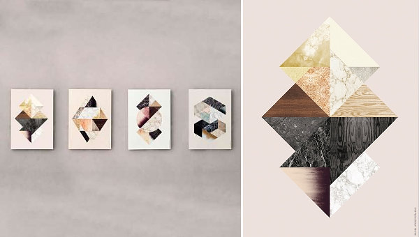 Textures of wood and stone in artwork from Ferm Living