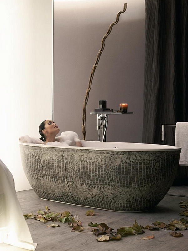 The freestanding tub truly brings home a spa-like aura