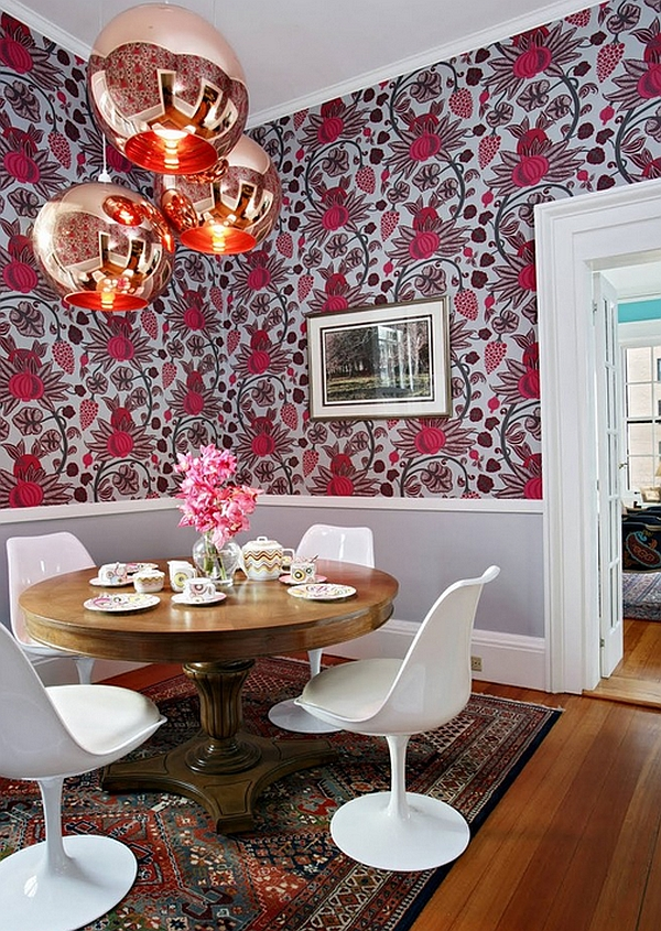View In Gallery Tom Dixon Copper Lamps And Bold Patterned Wallpaper Create  A Striking Setting