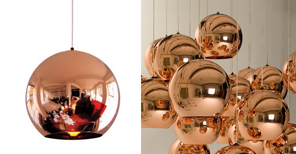 Tom Dixon copper pendant lighting