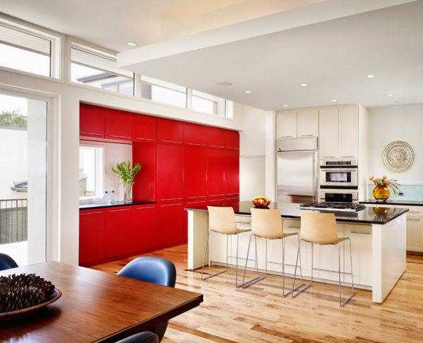 Tomato red cabinets Helpful Tips for Painting Cabinets