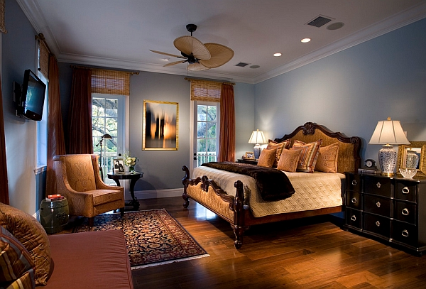 Traditional bedroom in relaxing blue