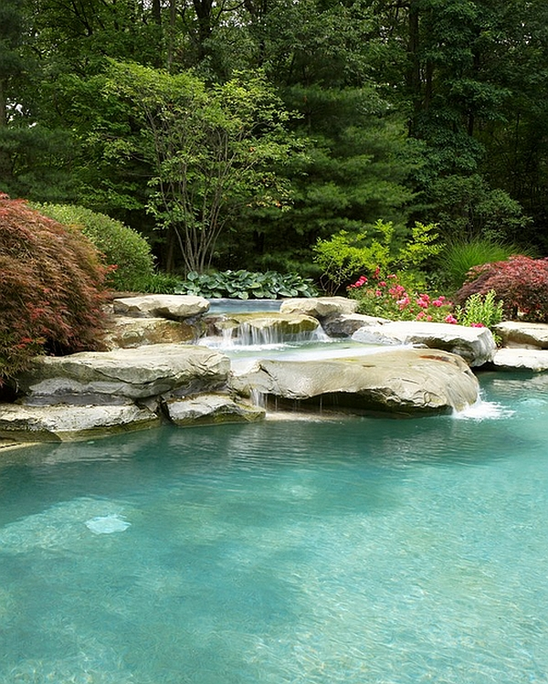 Breathtaking pool waterfall design ideas for Natural rock swimming pools
