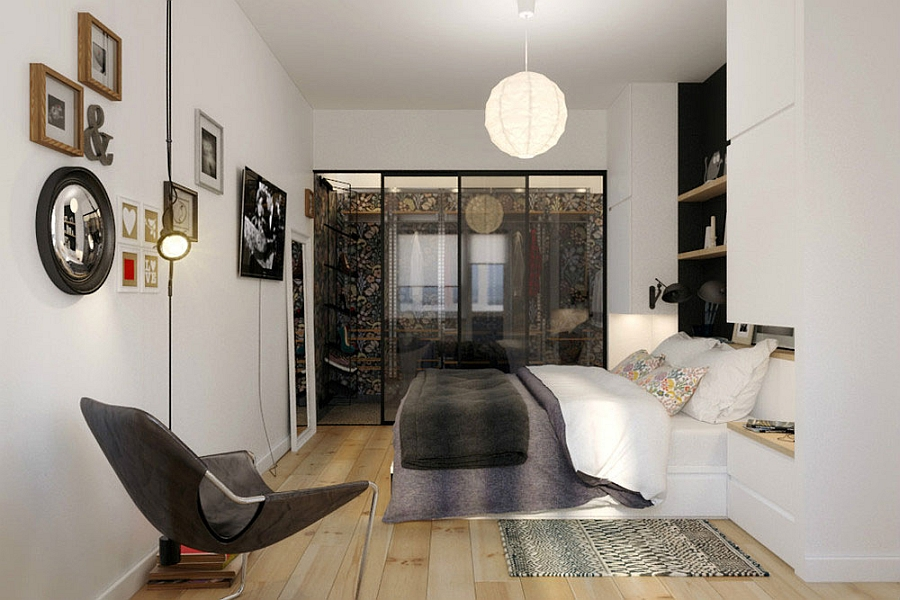 tiny apartment in black and white charms with space saving 14326 | trendy small bedroom design idea