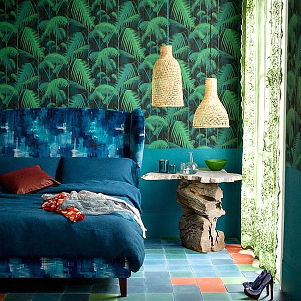 tropical bedroom featuring shades of blue and green