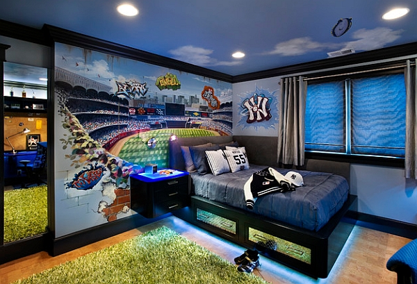 Wall murals decals sports themed interiors for Baseball stadium mural wallpaper