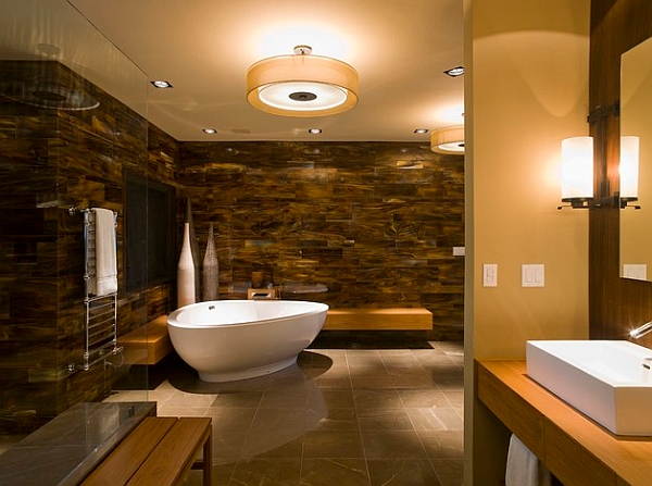 Utilize the corner area with a uniquely shaped freestanding tub