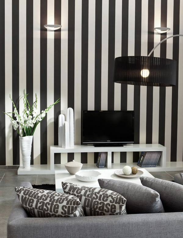 bold and beautiful black and white stripes in every room. Black Bedroom Furniture Sets. Home Design Ideas