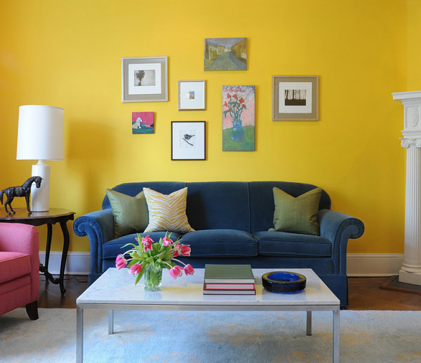 Vibrant yellow living room