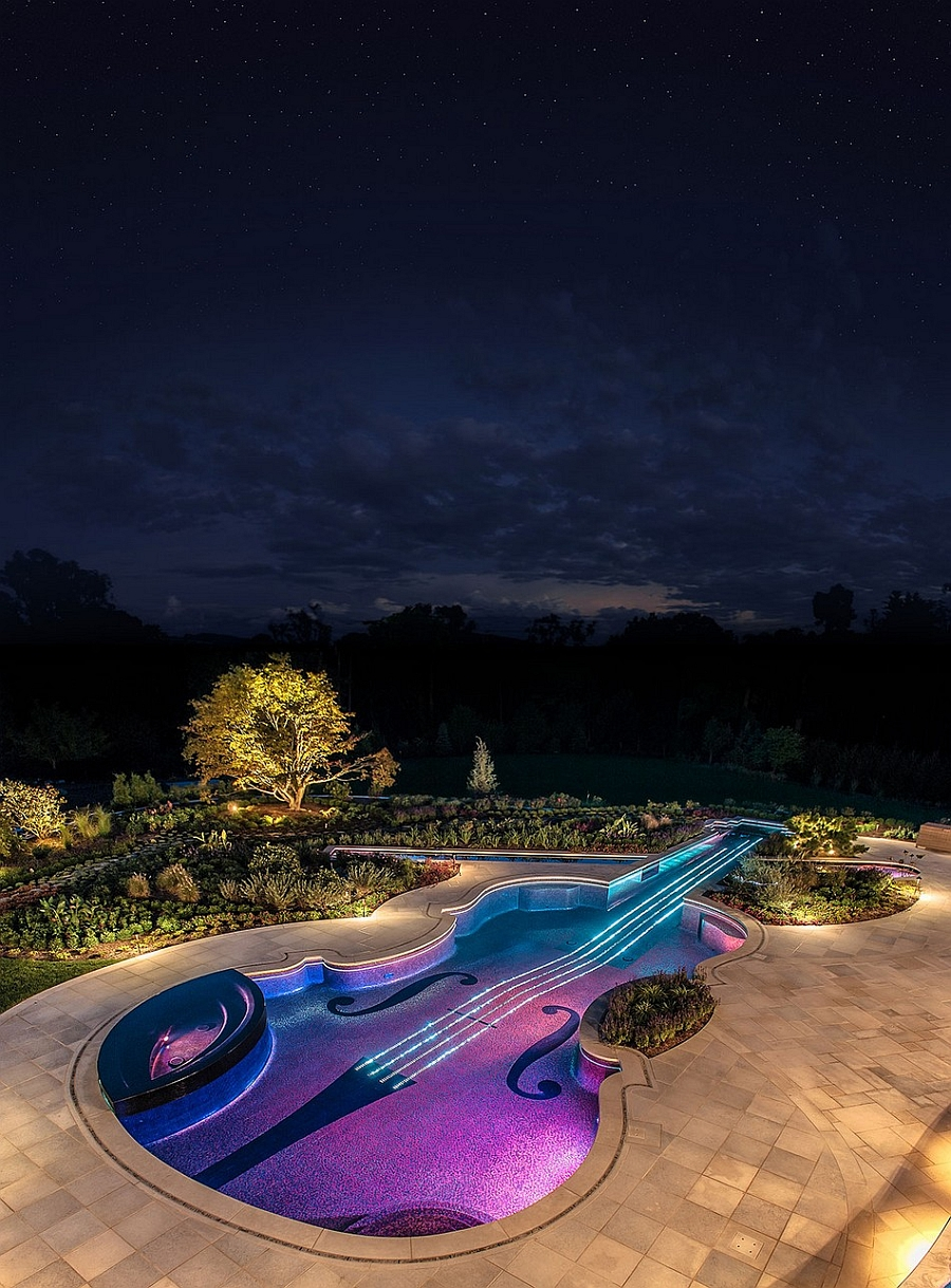 Violin shaped swimming pool offers a luxurious retreat