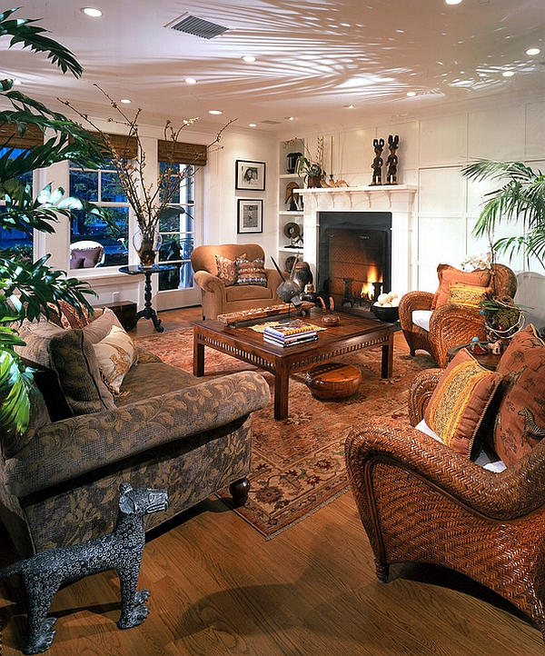 Vivacious tropical living room with an apparent African ...