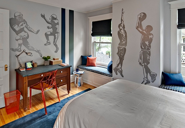 Wall graphics steal the show in this bedroom