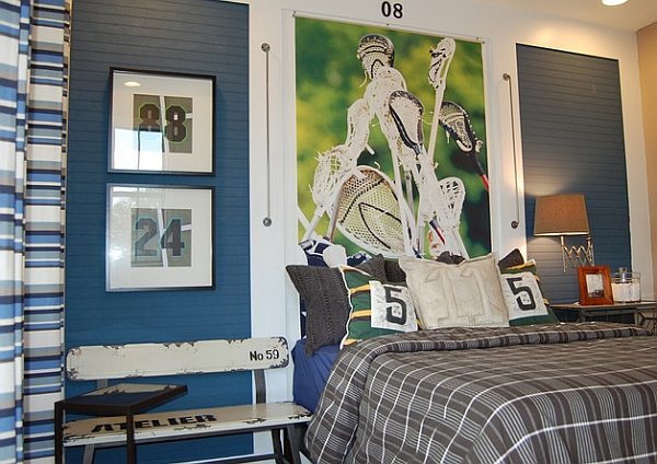 Wall mural and framed jersey numbers add color to the room