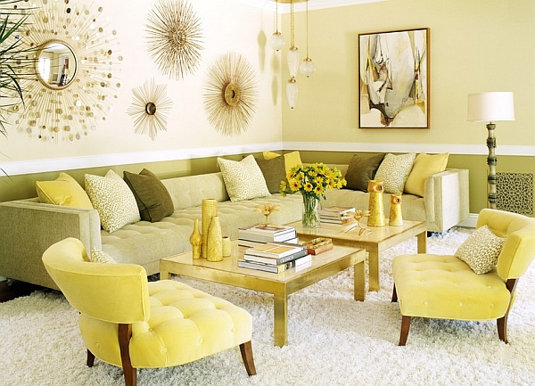 View in gallery Warm yellows showcase a 70s retro look along with a tinge  of Hollywood Regency