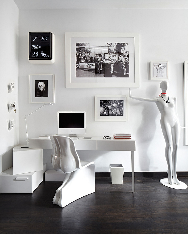 White interiors with black accents