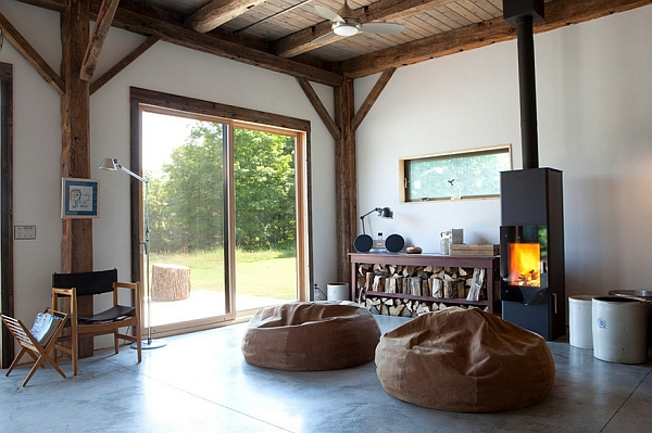 Wood burning stove with the beanbags also adds a hint of rustic charm