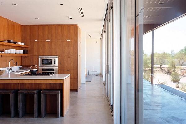 Wooden clad modern kitchen