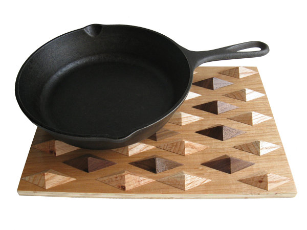 Wooden geometric kitchen trivet