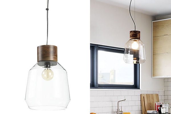 Wooden geometric pendant light