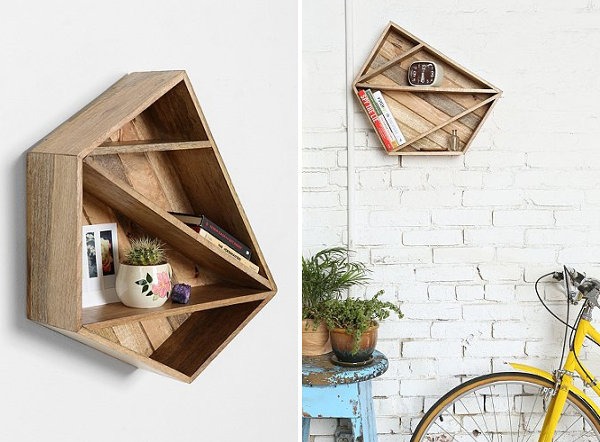 Wooden geometric shelf