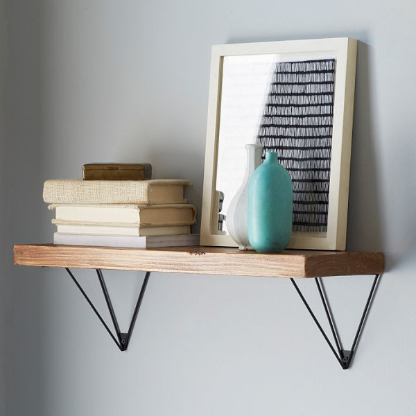 Wooden shelving paired with prism brackets