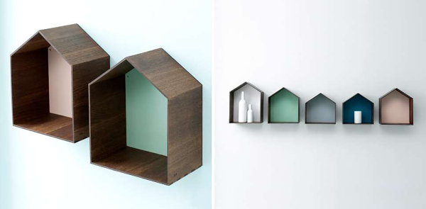 Wooden shelving with a painted back