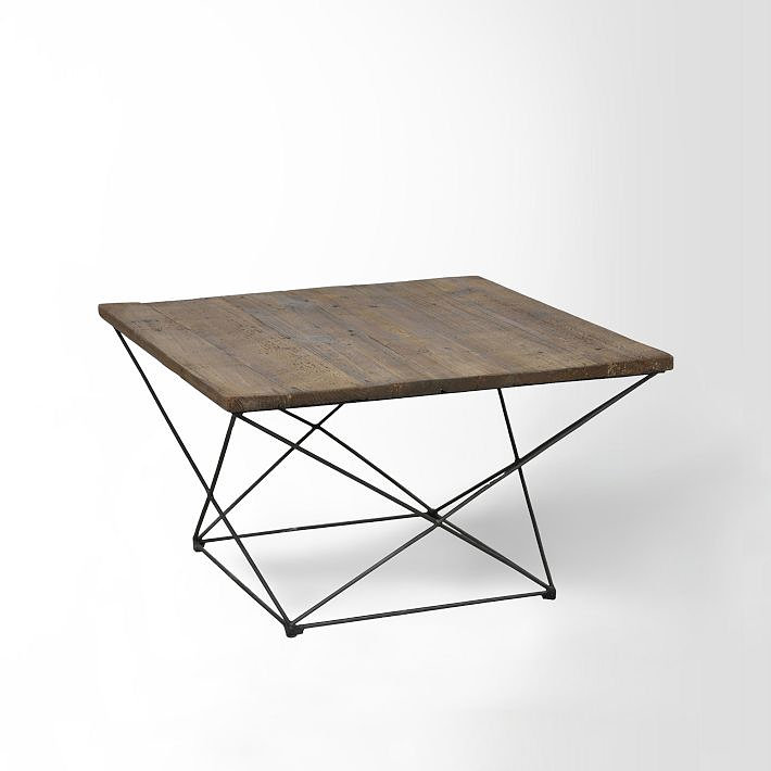 Wooden table with a geometric base