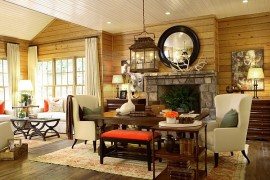 Wooden wall paneling makes a visual difference to the winter cabin style