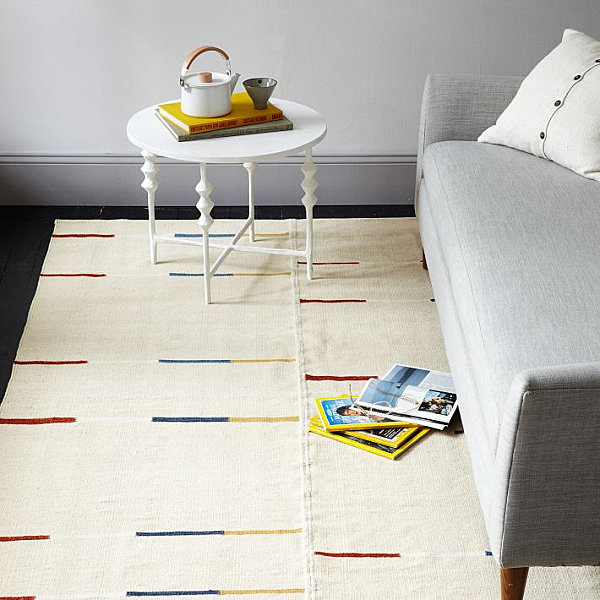 Wool dhurrie rug 10 New Patterned Rugs for a Stylish Interior