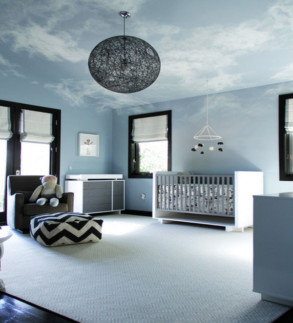 hand painted ceiling murals that mimic the clouds. Black Bedroom Furniture Sets. Home Design Ideas