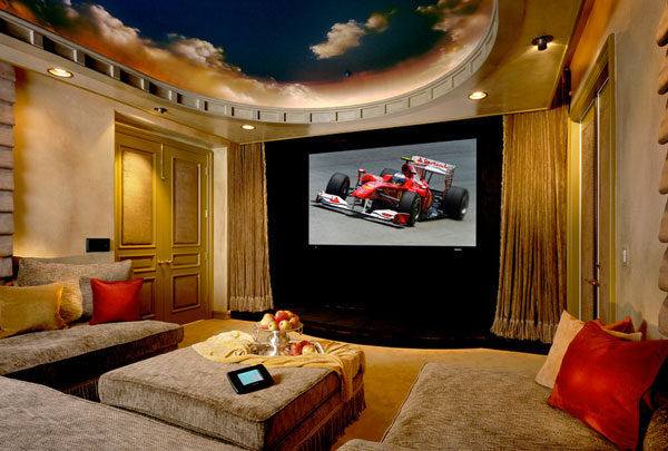 bliss home theaters automation inc Hand painted Ceiling Murals That Mimic The Clouds