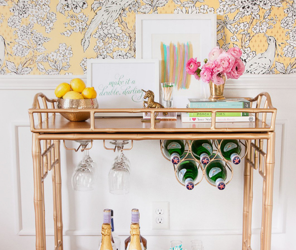 brass accent bar cart