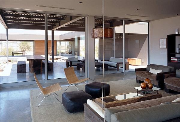 comfy living room inside the steel frame house