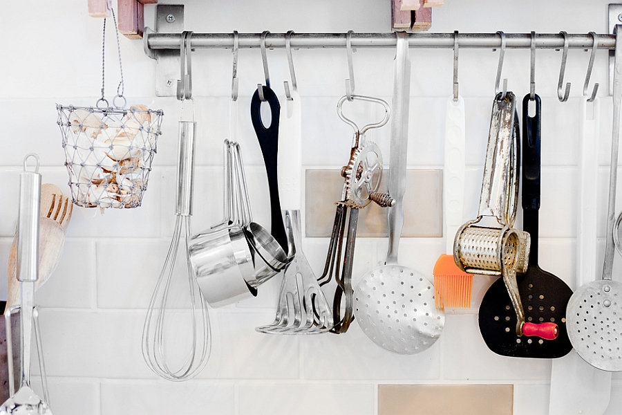 hanging cutlery in the kitchen saves up space
