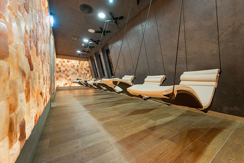 hanging loungers in the spa