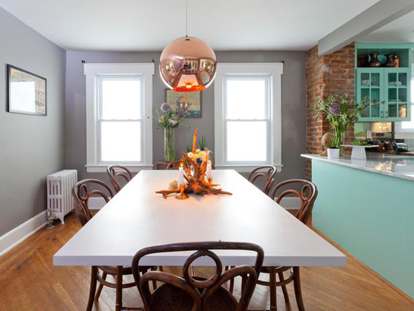 Gray Transitional Dining Room With Copper Pendant Light