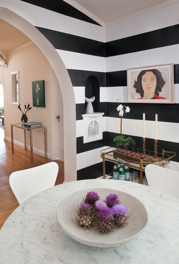 Bold and beautiful black and white stripes in every room - Black and white striped wall ...