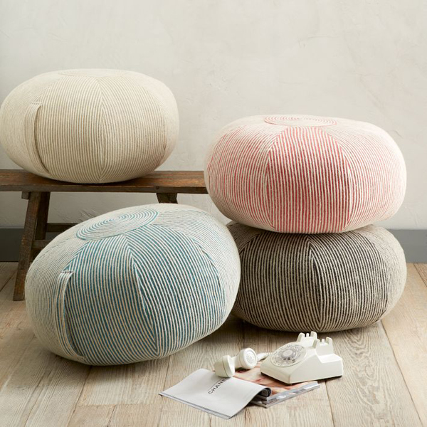 Add comfort to your home with floor pillows and poufs for Ottoman to sit on