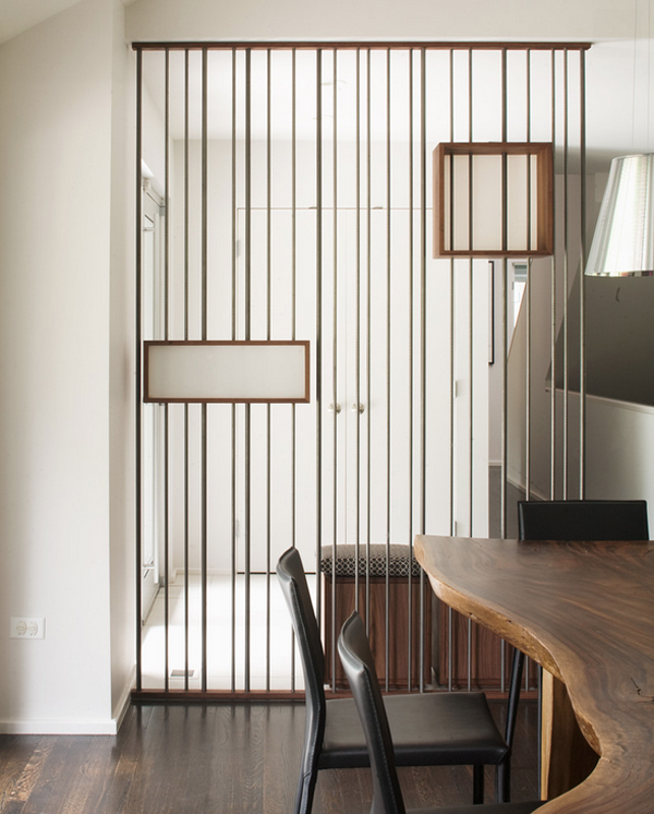 transparent wire walls that define spaces with style