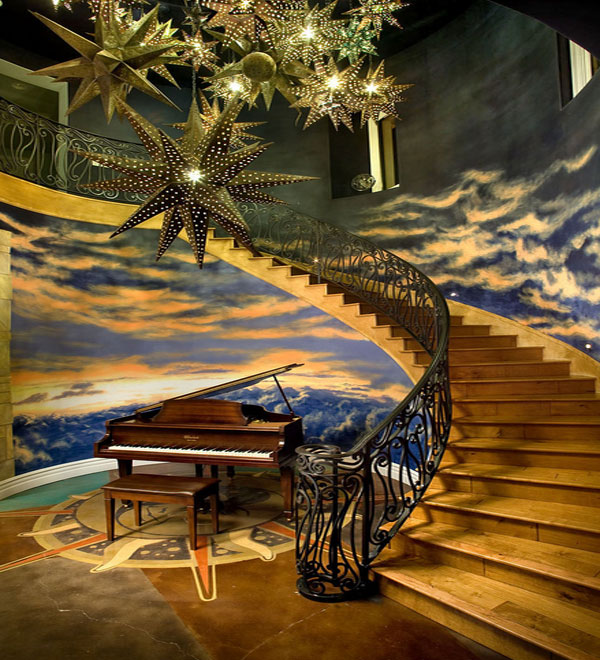 Hand Painted Ceiling Murals That Mimic The Clouds