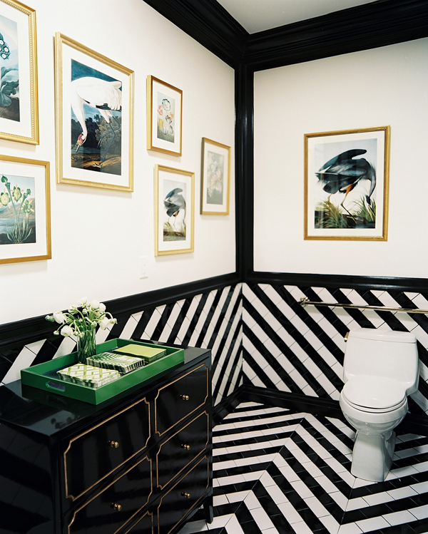 Bold and beautiful black and white stripes in every room for Black white and gold bathroom decor